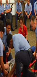 EMT student with EMT Trainer
