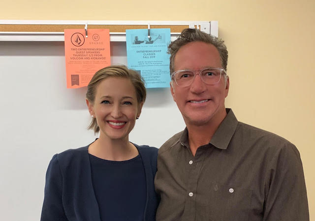 Thom McElroy, CoFounder of Volcomm with Asst. Professor Tanya Hertz, Director of the REC