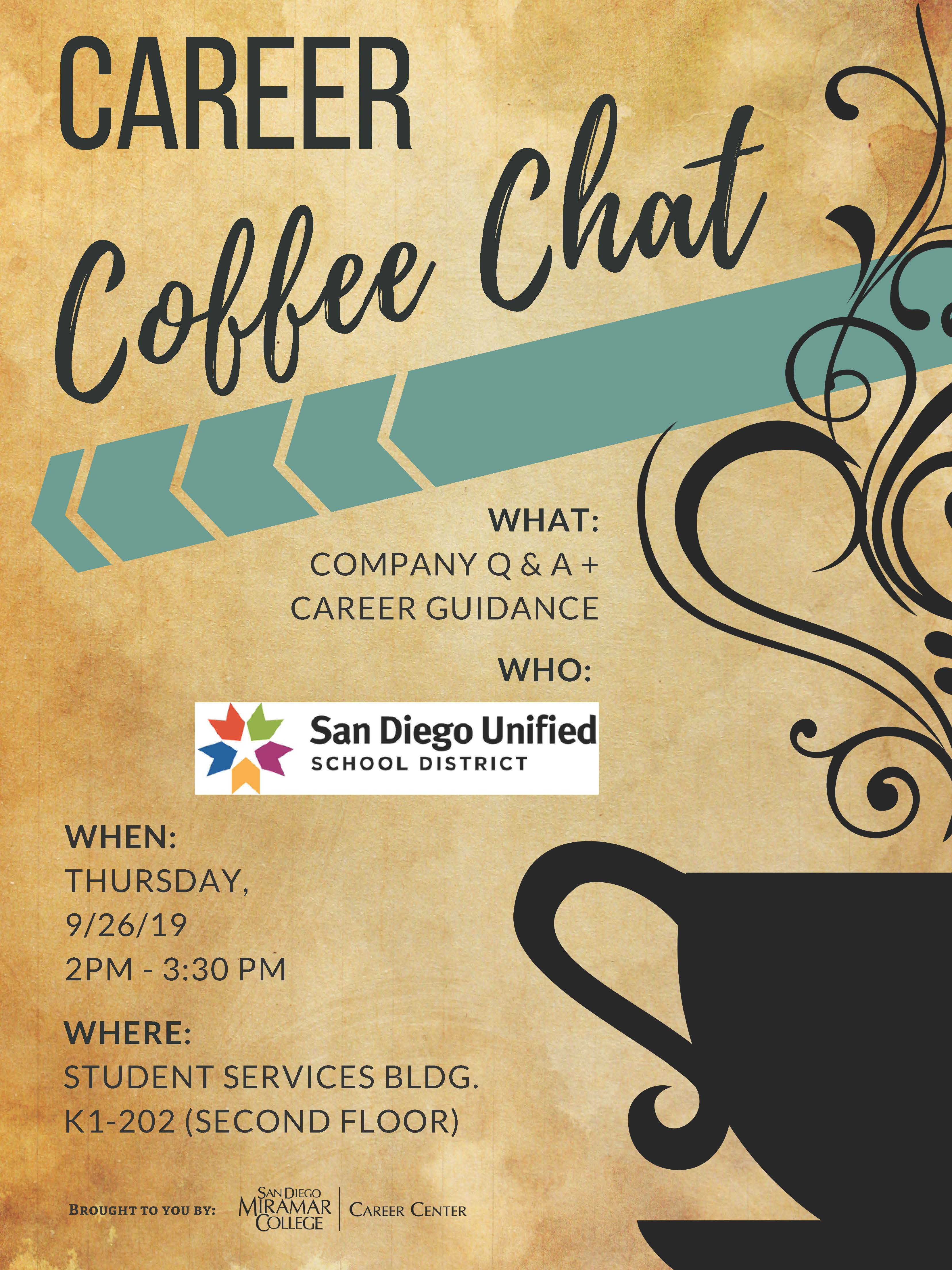 Career Center Coffee Chat Event with San Diego Unified School District as Employer Presenter on Thursday, September 26 from 2:00PM-3:30PM in Room K1-202, Second Floor of the Student Services Building.