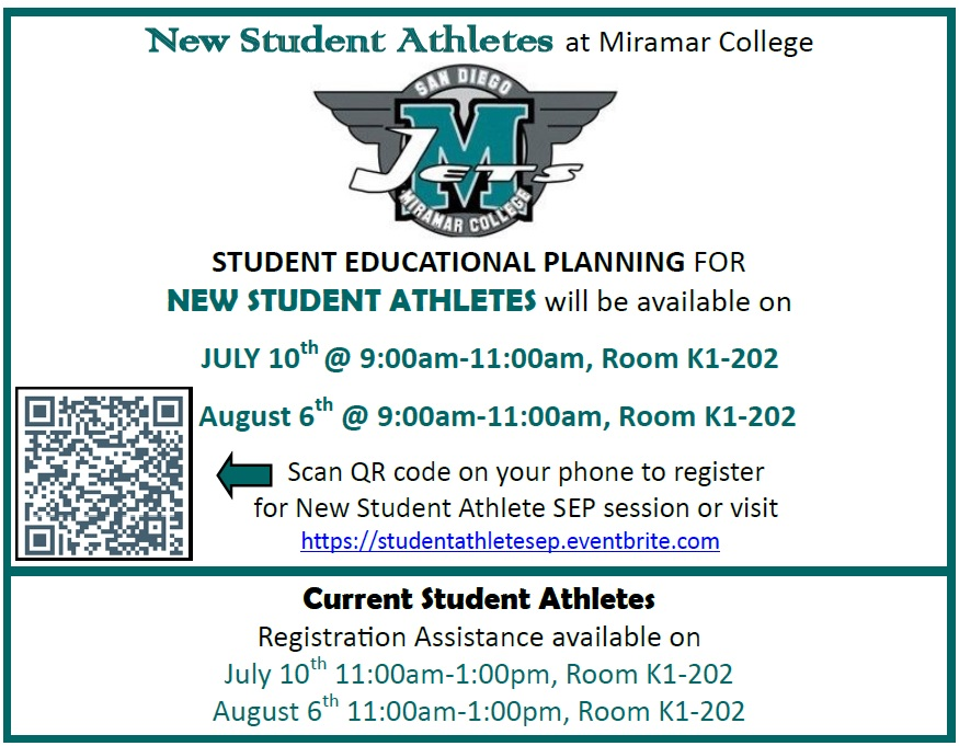 Information about student athlete SEP's. Call 619-388-7840 for information