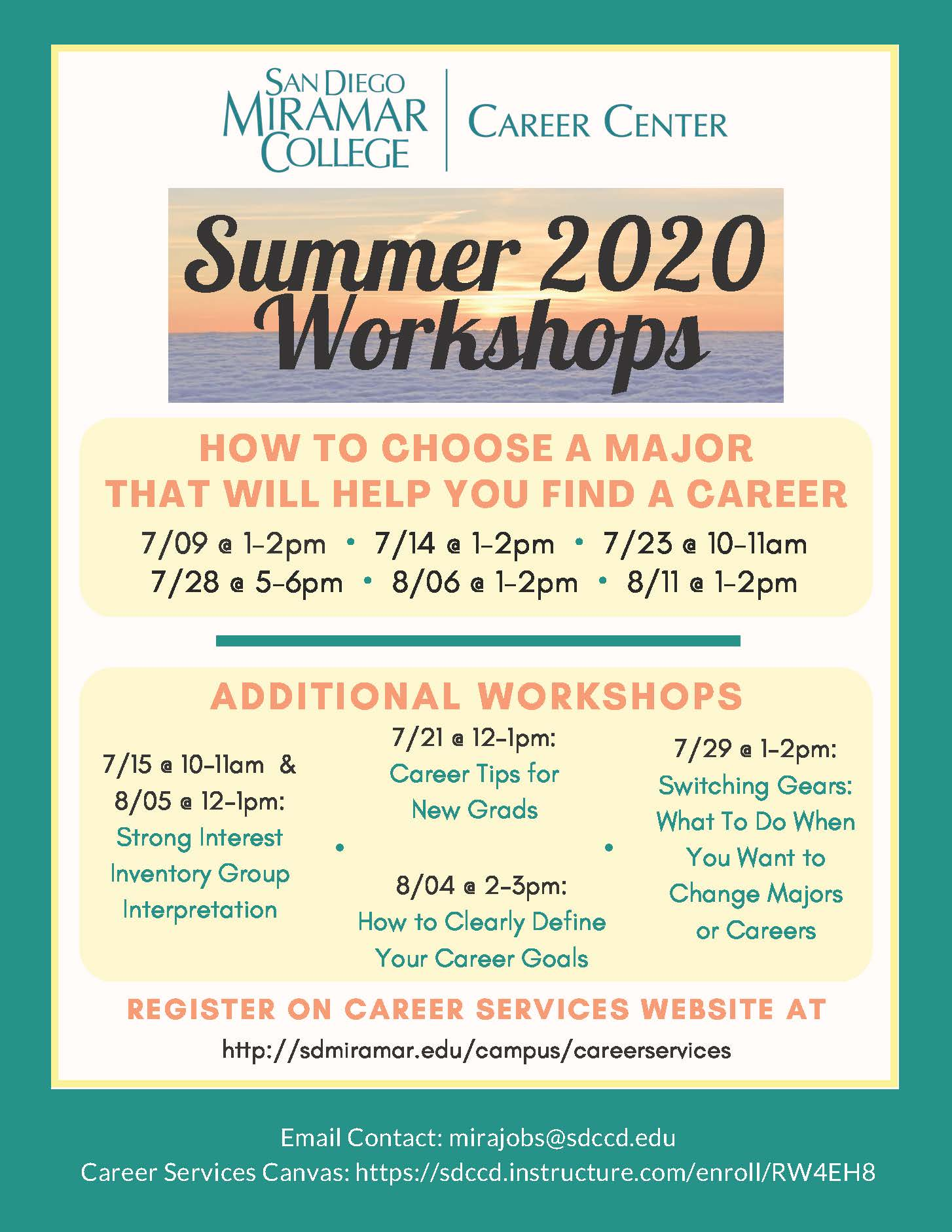 Career Center Summer 2020 - July and Aug workshops