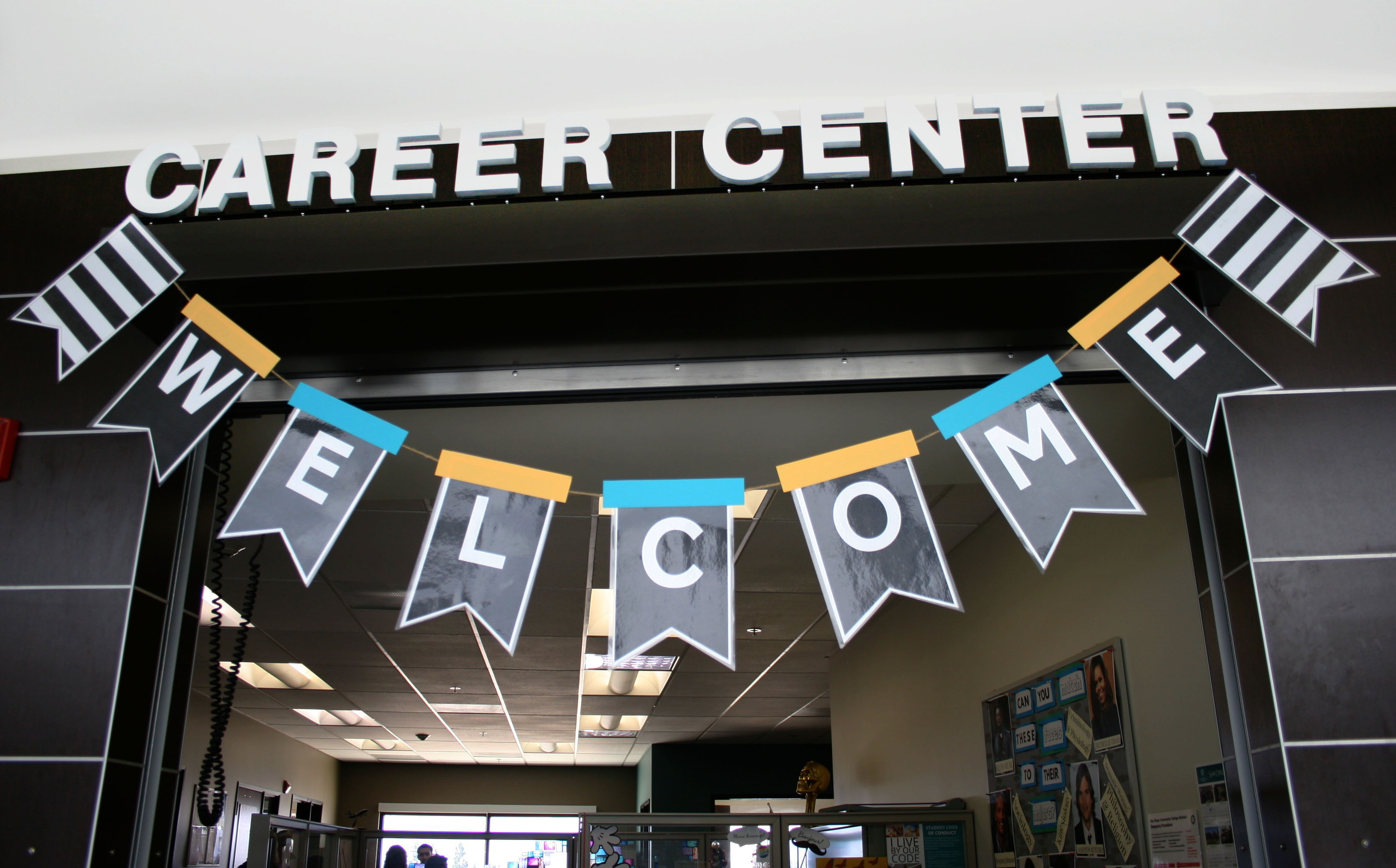 Image of Miramar College Career Center office front with Career Center sign and Welcome banner