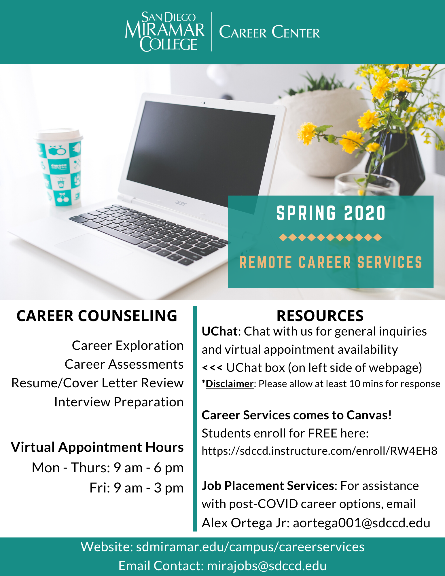 Remote Career Services flyer. For remote career resources, please visit our Canvas shell at: https://sdccd.instructure.com/enroll/RW4EH8