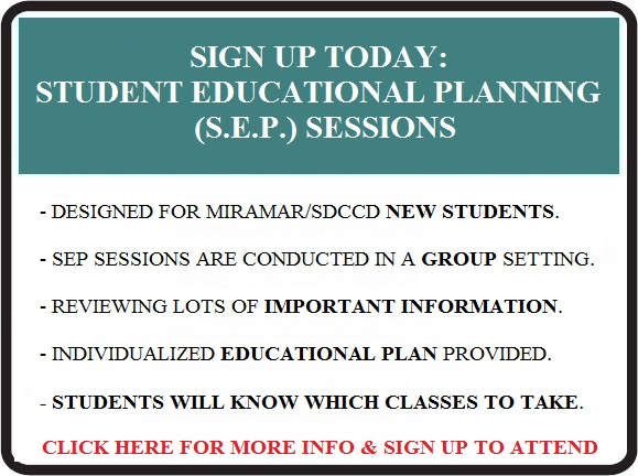Student Educational Planning sessions are available now call 6193887840 OR click here to schedule