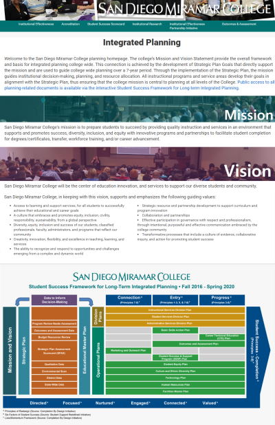Overview of the Miramar College Planning Website
