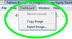 "screenshot of the Tableau Reader menu with ""Dashboard"" clicked and ""Export Image"" hovered over"