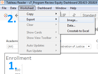 "screenshot of the Tableau Reader menu with ""Worksheet"" clicked and ""Export"" then ""Image"" hovered over"