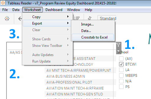 "screenshot of the Tableau Reader menu with ""Worksheet"" clicked and ""Export"" then ""Crosstab to Excel"" hovered over"